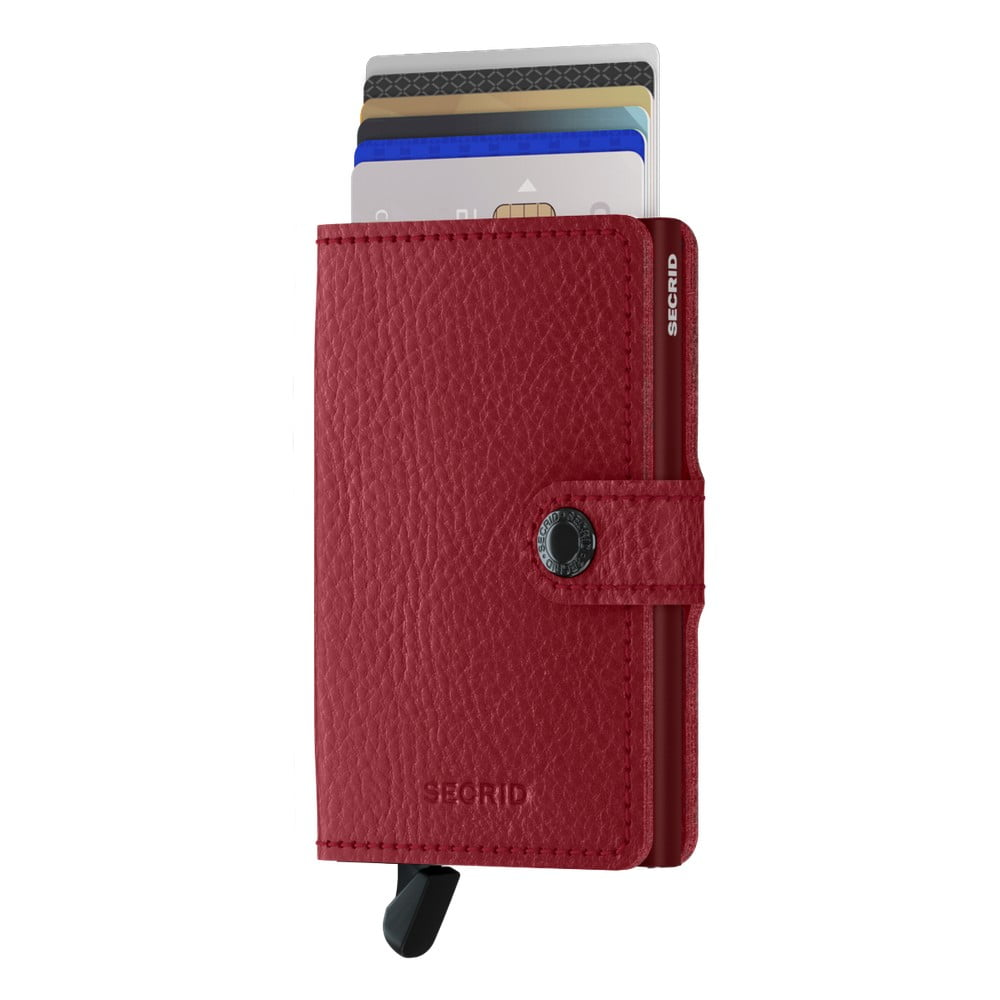 Červená kožená peněženka s pouzdrem na karty Secrid Clip