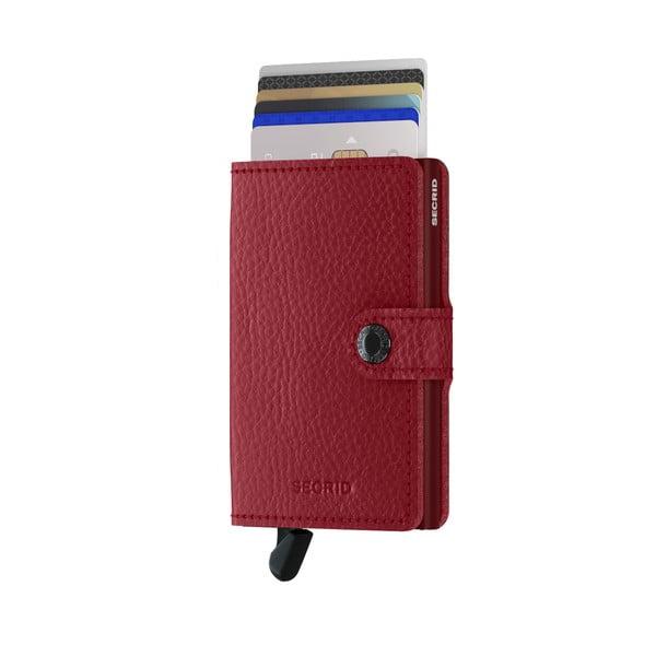 Červená kožená peňaženka s puzdrom na karty Secrid Clip