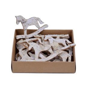 Sada 18 dřevěných dekorativních houpacích koní Ego Dekor