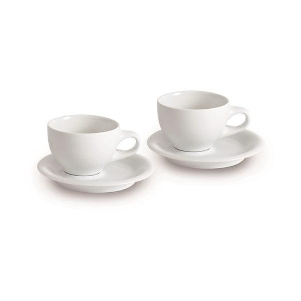 Set dvou šálků s podšálky Cappucino International, bílý
