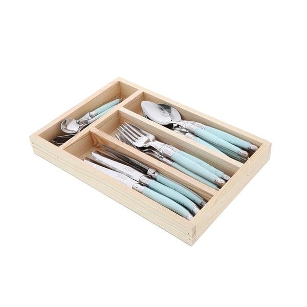 Trully 24 db-os evőeszköz készlet türkiz nyéllel, fa dobozban - Jean Dubost