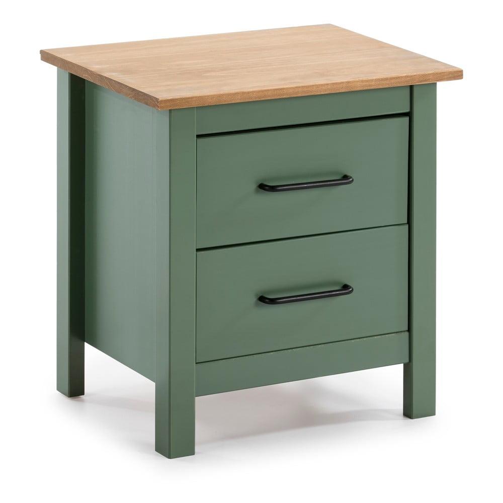 Zelený dřevěný noční stolek Marckeric Miranda
