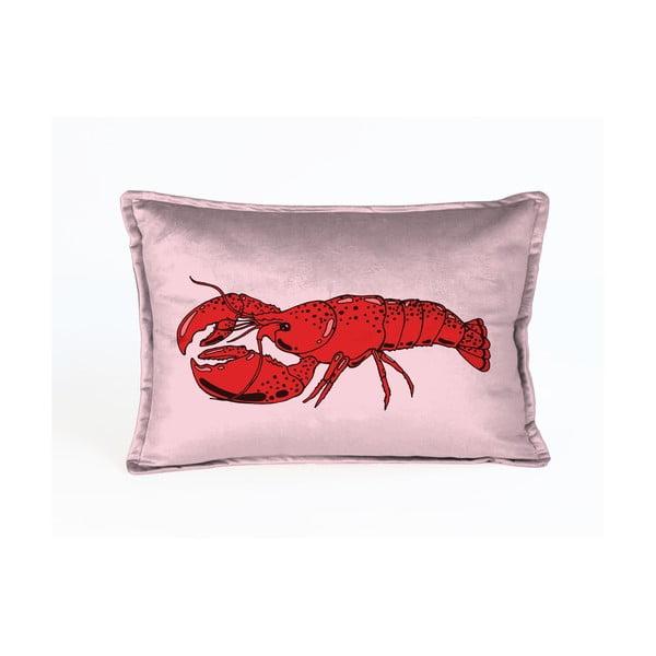Różowa aksamitna poduszka z motywem homara Velvet Atelier Lobster, 50x35 cm