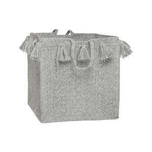 Šedý bavlněný ručně tkaný box Nattiot, Ø 25 cm