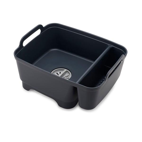 Recipient pentru spălare cu compartiment pentru detergent Joseph Joseph Wash&Drain, negru