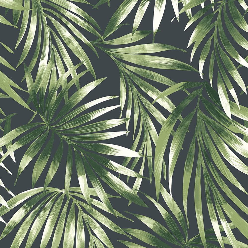 Tmavě zelená nástěnná tapeta Graham & Brown Elegant Leaves, 0,52x10m