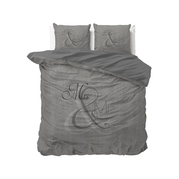 Bavlnené obliečky na dvojlôžko Pure Cotton Mr and Mrs Knitted, 200 x 200/220 cm