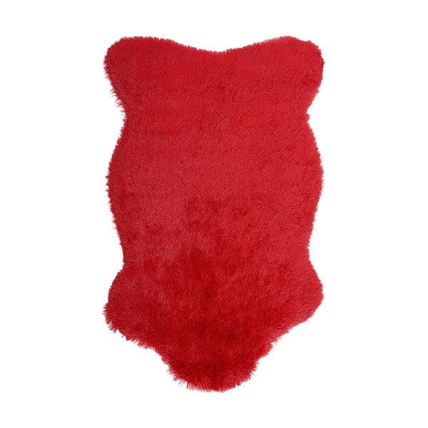 Červený kožušinový koberec Ranto Soft Bear, 70×105 cm