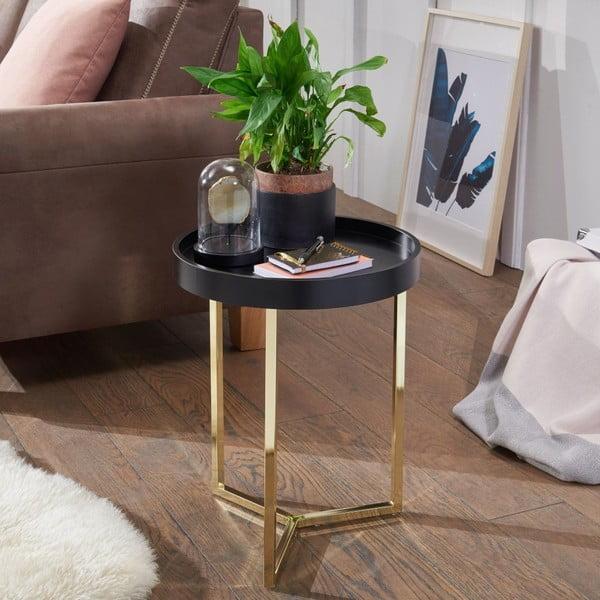 Černý příruční stolek s nohami ve zlaté barvě Skyport Wohnling Eva, ⌀ 40 cm