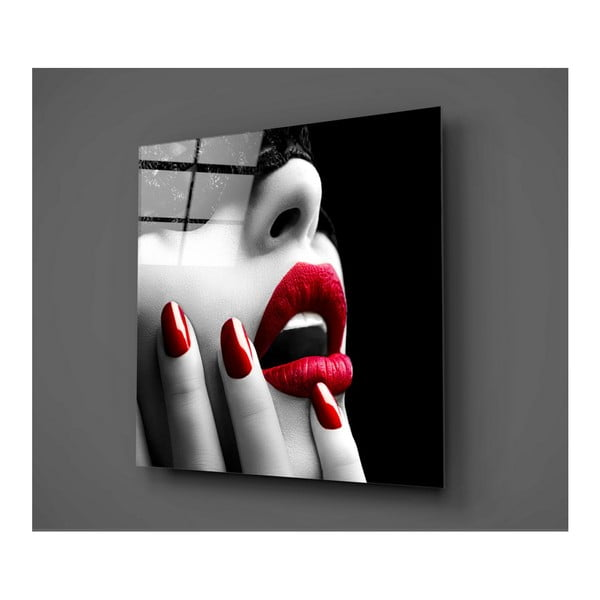Obraz szklany Insigne Lips Rojo Mento, 50x50 cm