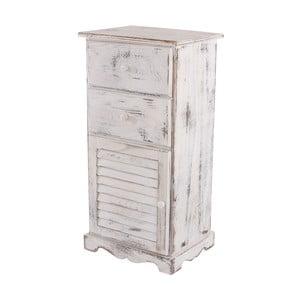 Bílá dřevěná komoda/noční stolek Mendler Shabby