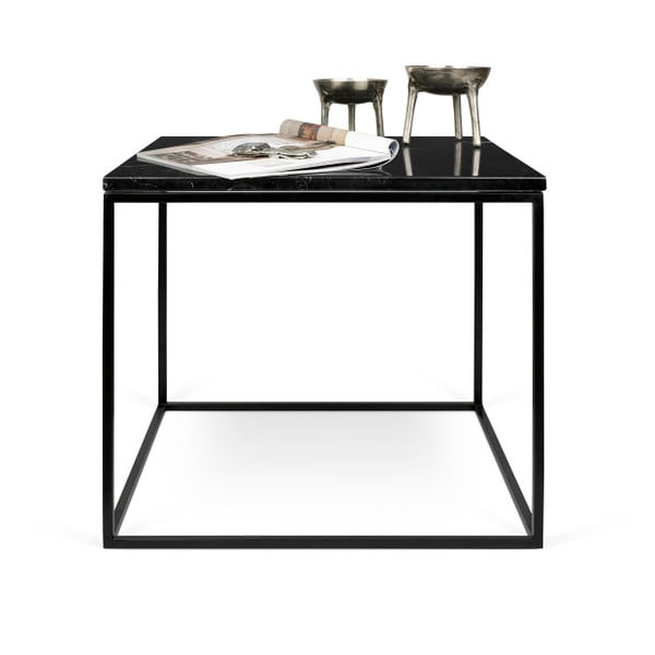 Černý mramorový konferenční stolek s černými nohami TemaHome Gleam, 50cm