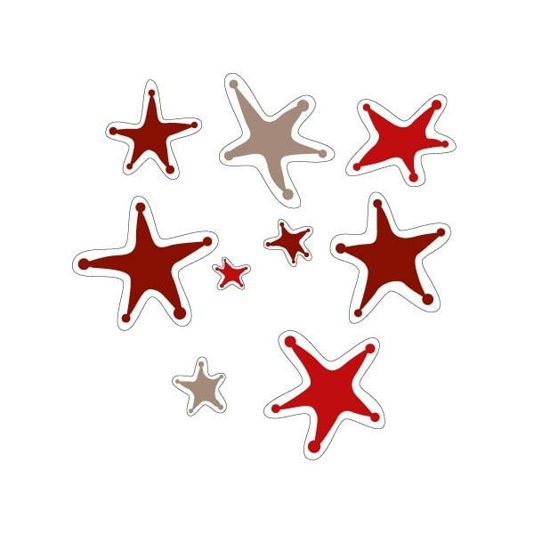 Elektrostatická samolepka Červené zdivočelé hvězdy, 2x9 ks