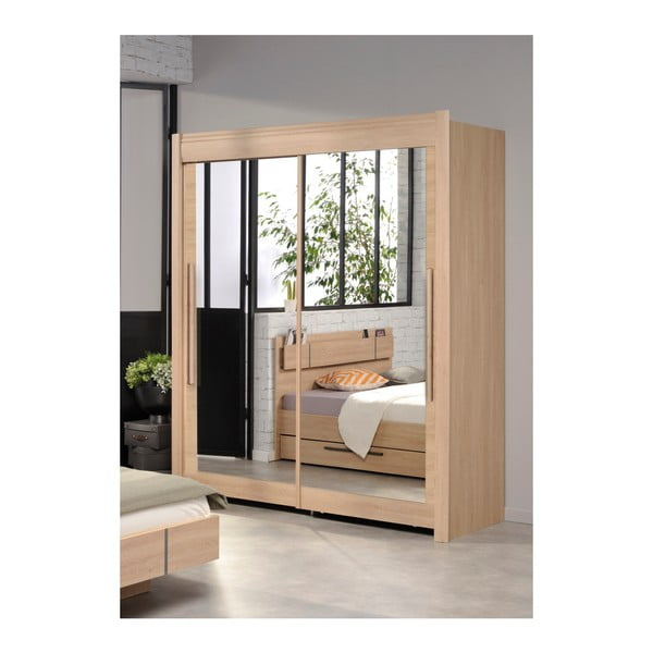 Šatní skříň v dekoru dubového dřeva s posuvnými dveřmi Parisot Adorlée, šířka180cm