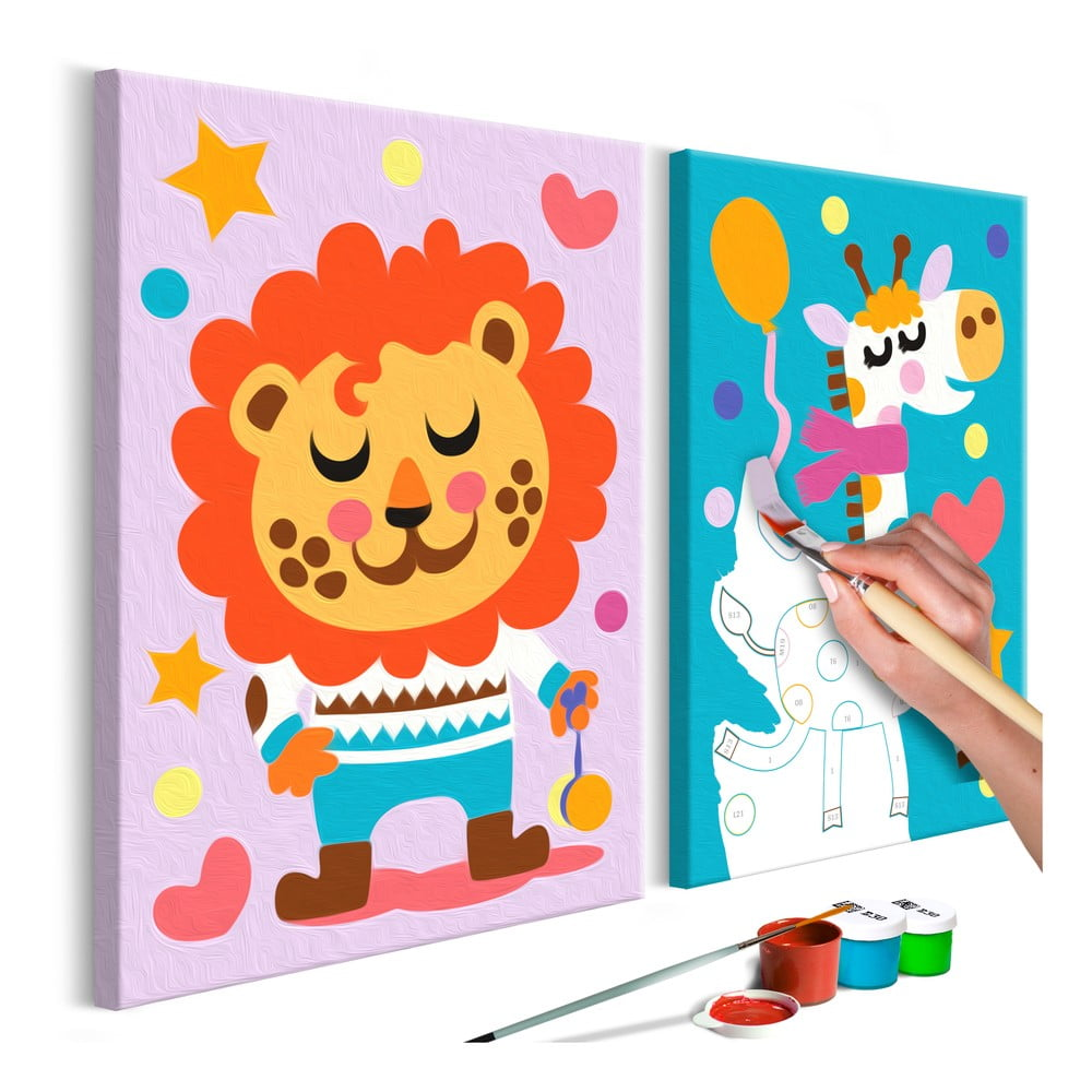 DIY set na tvorbu vlastního dvoudílného obrazu na plátně Artgeist Lion & Giraffe, 33 x 23 cm