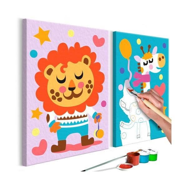 DIY set na tvorbu vlastného dvojdielneho obrazu na plátne Artgeist Lion & Giraffe, 33×23 cm