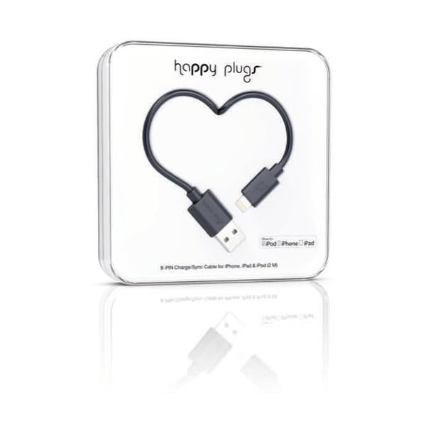 Černý Happy Plugs nabíjecí a datový kabel, 2 metry