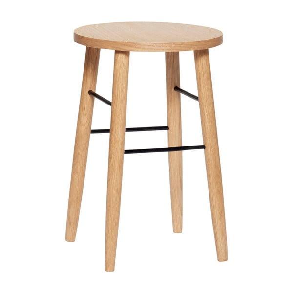 Barová stolička z dubového dřeva Hübsch Oak Bar Stool, výška 52 cm