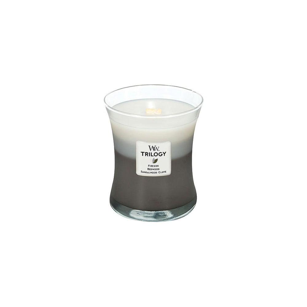 Svíčka s vůní santalového dřeva a hřebíčku WoodWick Hřejivé dřevo, 130hodin hoření