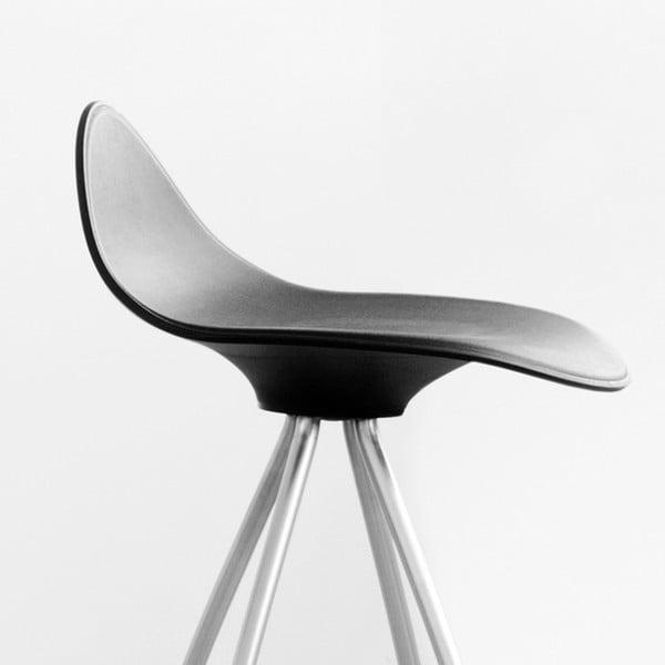 Černá  stolička s chromovanými nohami Stua Onda, 66cm