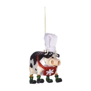 Vánoční závěsná ozdoba ze skla Butlers Kráva s kuchařskou čepicí, 11,5 cm
