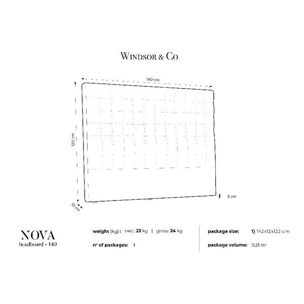 Světle šedé čelo postele Windsor & Co Sofas Nova, 140 x 120 cm