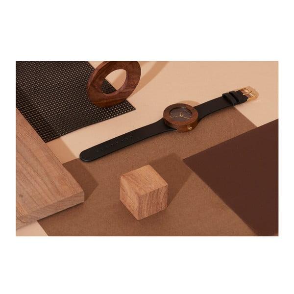 Dřevěné hodinky s hodinovými čárkami Analog Watch Co. Leather & Blackwood