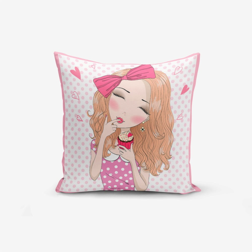 Povlak na polštář Minimalist Cushion Covers Girl With Cupcake, 45 x 45 cm