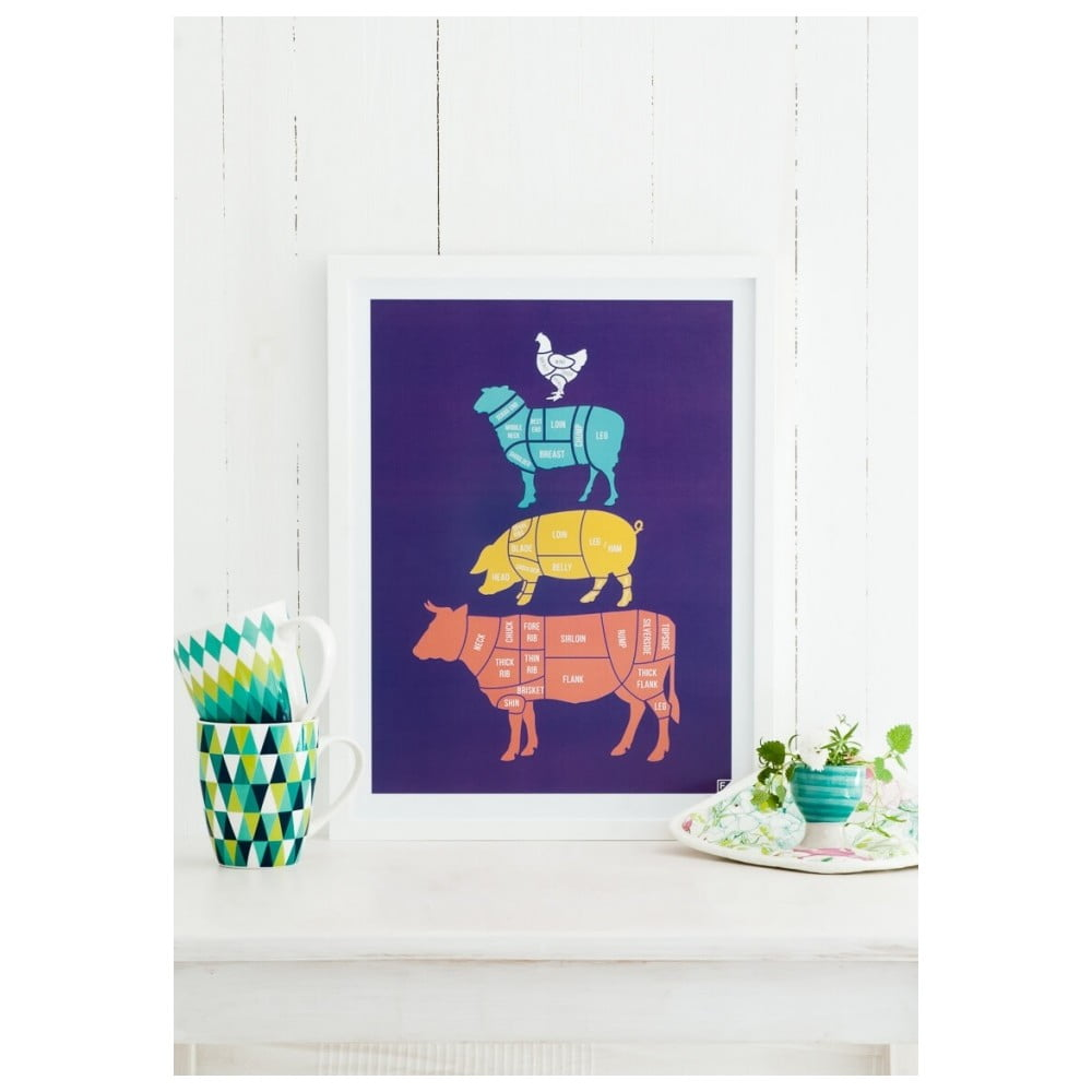 poster follygraph meat cuts colored 40 x 50 cm bonami. Black Bedroom Furniture Sets. Home Design Ideas