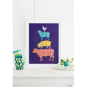 Barevný plakát Follygraph Meat Cuts, 21x30cm