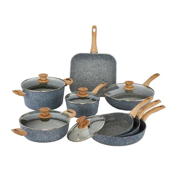 Pierre Gourmet Cristina 8 db-os edénykészlet fedőkkel és fa mintázatú fülekkel - Bisetti