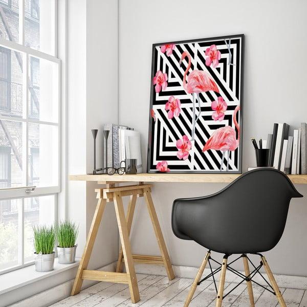 Plakát s plameňákem, černo-bílé pozadí, 30 x 40 cm