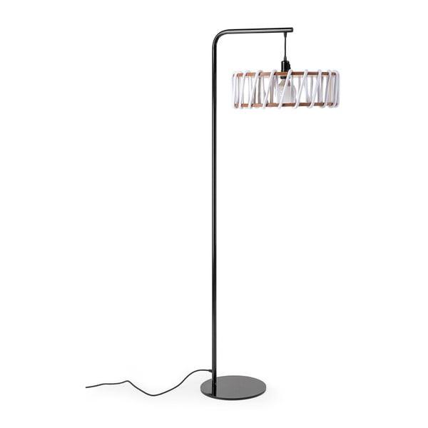 Macaron állólámpa fekete konstrukcióval és nagy fehér lámpabúrával - EMKO