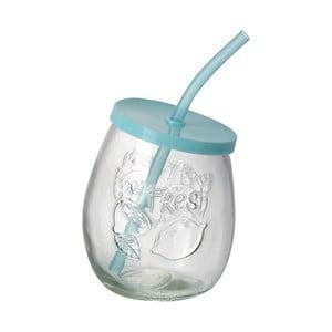 Tyrkysová sklenice s brčkem Parlane Straw Tyrq