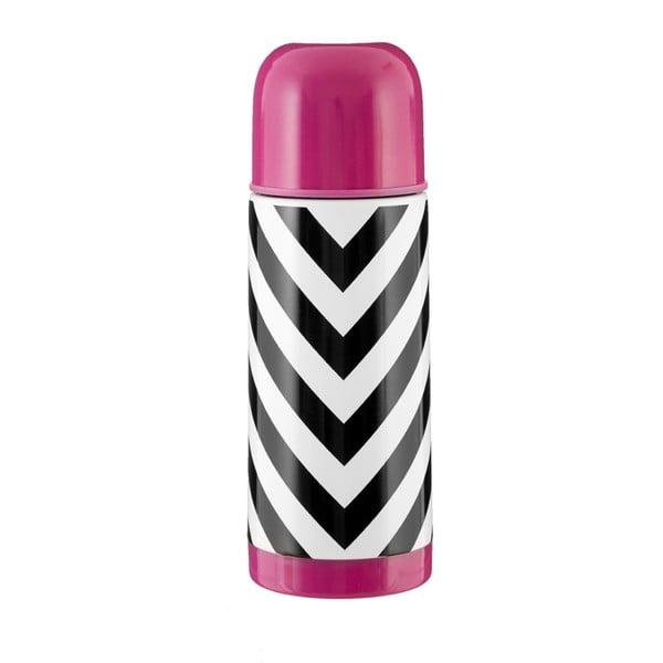 Czarno-biały termos z różową zakrętką Premier Housewares Vacuum,350ml
