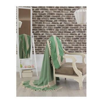 Cuvertură pat din bumbac Hasir Light Green, 200 x 240 cm, verde