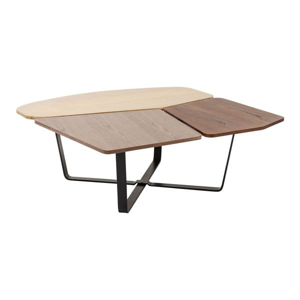 Hnedý stôl s čiernymi detailmi Kare Design Patches, 100×36 cm