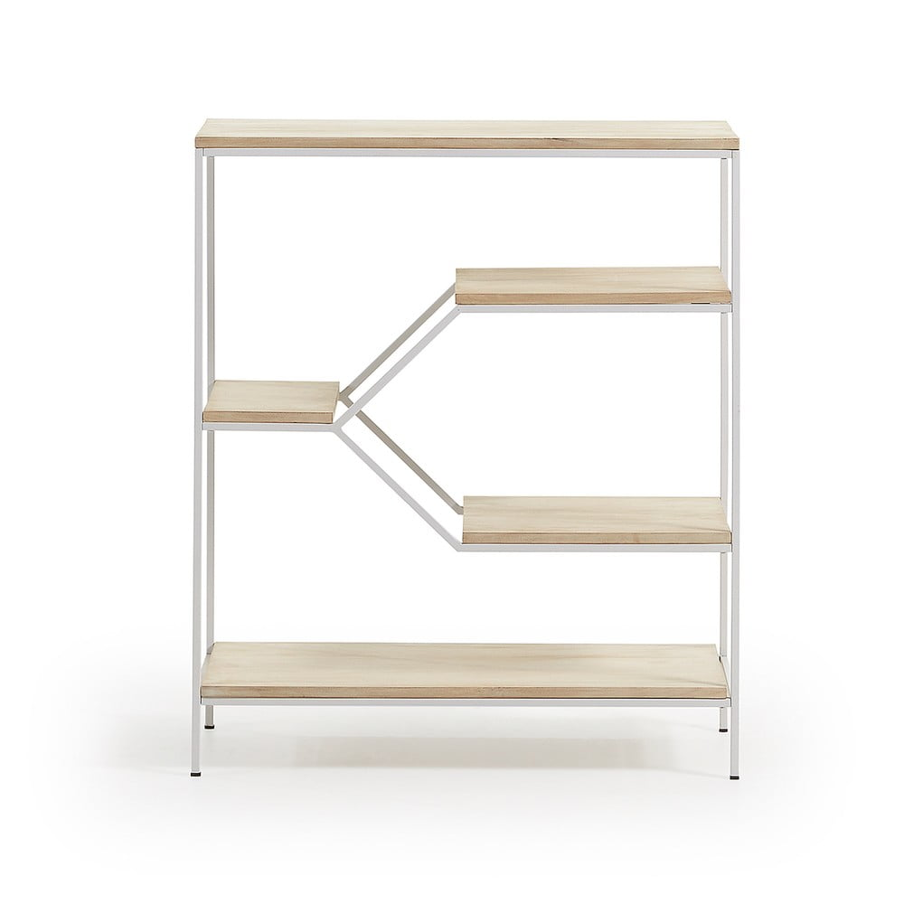 Menší bílá knihovna s policemi z mangového dřeva La Forma Pyke