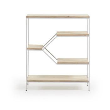 Bibliotecă mică cu rafturi din lemn de mango La Forma Pyke, alb imagine