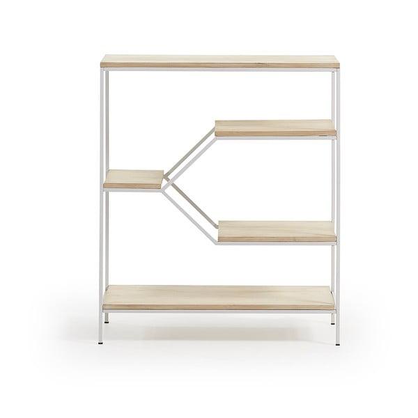 Bibliotecă mică cu rafturi din lemn de mango La Forma Pyke, alb