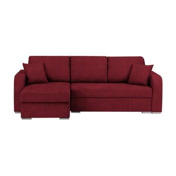 Canapea pe colț extensibilă cu 3 locuri și spațiu pentru depozitare Melart Louise roșu închis
