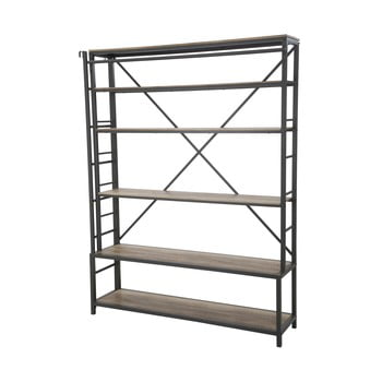 Bibliotecă din metal cu scară Mauro Ferretti Manhattan, înălțime 210cm, negru imagine