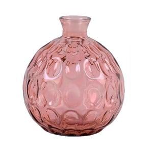 Růžová skleněná váza z recyklovaného skla Ego Dekor Dune, výška 18 cm