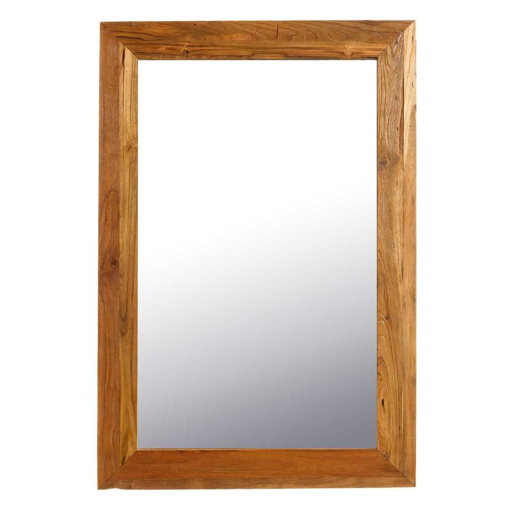 Tmavě hnědé nástěnné dřevěné zrcadlo Tropicho, 80x120cm