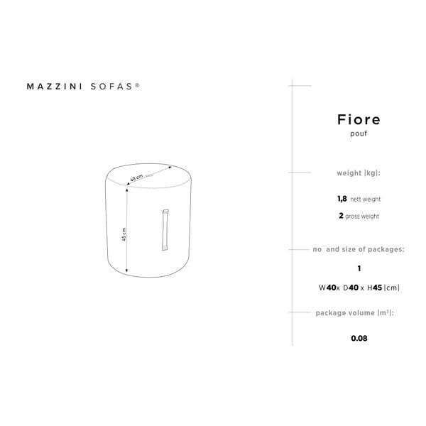 Světle šedý puf Mazzini Sofas Fiore, ⌀ 40 cm