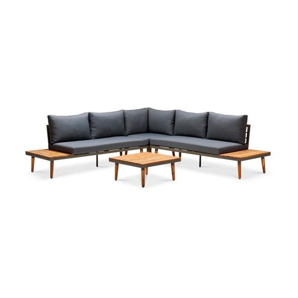 Szara sofa ogrodowa z konstrukcją z drewna akacji Le Bonom Lustio