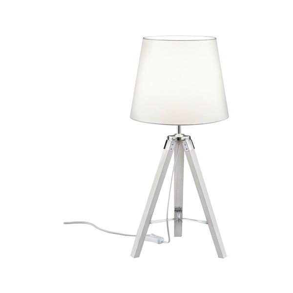 Bílá stolní lampa z přírodního dřeva a tkaniny Trio Tripod, výška 57,5 cm