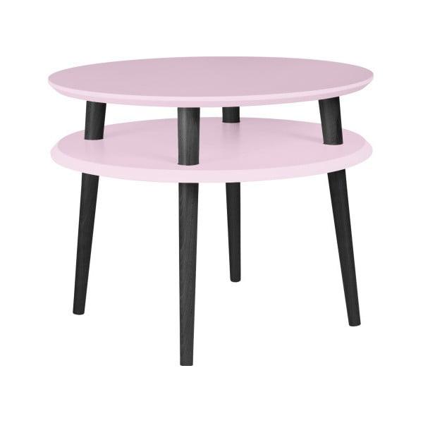 UFO világos rózsaszín kávézó asztal fekete lábakkal, Ø 57 cm - Ragaba