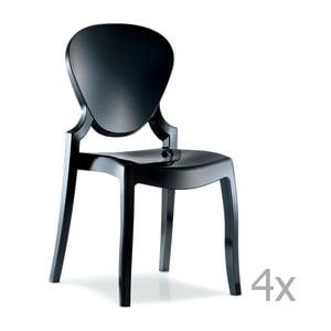 Sada 4 černých jídelních židlí Pedrali Queen