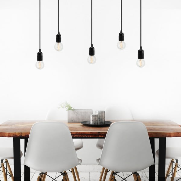Černé závěsné svítidlo s 5 kabely Bulb Attack Uno
